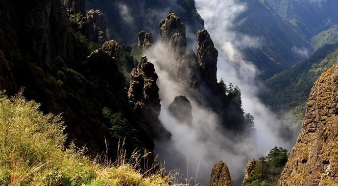 神农谷为神农架白云岩喀斯特地貌的经典景观。自观景台至谷底落差达4 0 0米,经过漫长年代的水切和风蚀,使它形成峡日豁然而开,深邃、幽险的峭崖和石笋群,现在主要表现为风蚀。向下俯瞰,令人晕眩。挺拔多姿的石笋群,从深谷之底错落有致地依崖而立。峡谷右直至视野之外。左前方片状的绵延山峰,若数层苍翠的屏风。它永远是我们不能抵达之成为记忆中的风景。 神农谷气候瞬息万变,风起云涌,原因是神农谷四周高山群生,峡谷纵横,水气蒸发的气流在谷底流通受阻,使云雾升腾,万千变化。当强大的气流改向,云雾瞬间散去,堪称五分钟内风云变幻